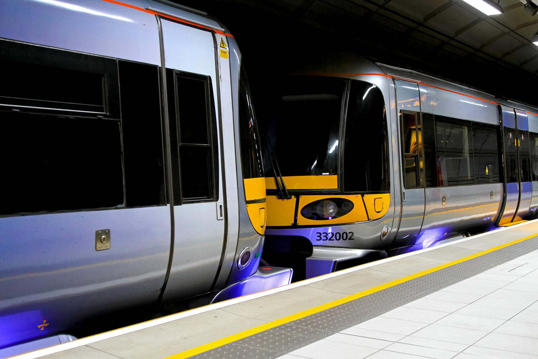 Modern speed train standing at underground platform
